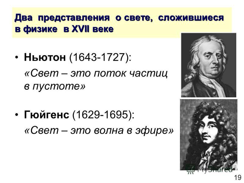 19 Два представления о свете, сложившиеся в физике в XVII веке Ньютон (1643-1727): «Свет – это поток частиц в пустоте» Гюйгенс (1629-1695): «Свет – это волна в эфире»