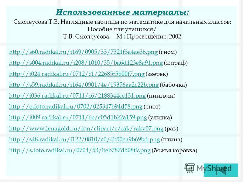 Использованные материалы: Смолеусова Т.В. Наглядные таблицы по математике для начальных классов: Пособие для учащихся/ Т.В. Смолеусова. – М.: Просвещение, 2002 http://s60.radikal.ru/i169/0905/33/7321f3a4ae36.pnghttp://s60.radikal.ru/i169/0905/33/7321