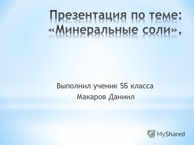 Выполнил ученик 5Б класса Макаров Даниил