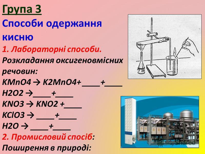 Група 3 Способи одержання кисню 1. Лабораторні способи. Розкладання оксигеновмісних речовин: KMnO4 K2MnO4+ ____+____ H2O2 ____+____ KNO3 KNO2 +____ KClO3 ____+____ H2O ____+____ 2. Промисловий спосіб: Поширення в природі: