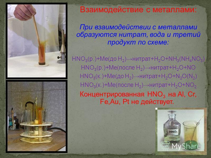 Взаимодействие с металлами: При взаимодействии с металлами образуются нитрат, вода и третий продукт по схеме: HNO 3 (р.)+Me(до H 2 )нитрат+H 2 O+NH 3 (NH 4 NO 3 ) HNO 3 (р.)+Me(после H 2 )нитрат+H 2 O+NO HNO 3 (к.)+Me(до H 2 )нитрат+H 2 O+N 2 O(N 2 )