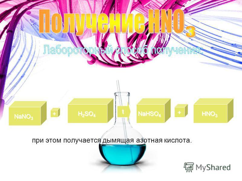 NaNO 3 + H 2 SO 4 t NaHSO 4 + HNO 3 при этом получается дымящая азотная кислота.