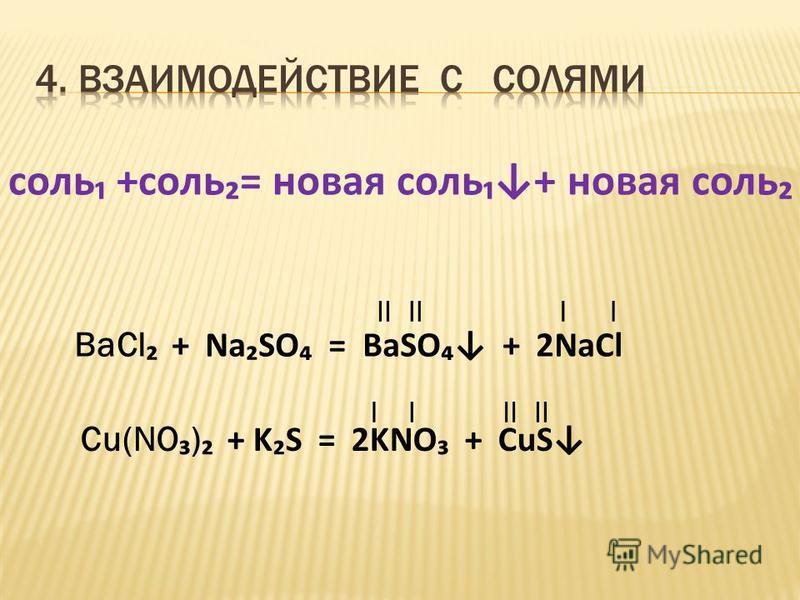 соль +соль= новая соль+ новая соль BaCl + Na SO = BaSO + 2NaCl Cu(NO ) + K S = 2KNO + CuS II II II
