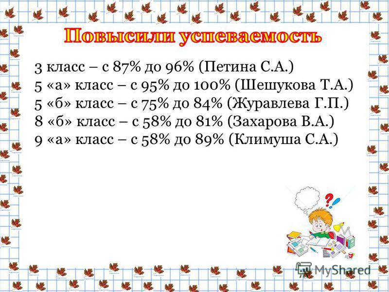 3 класс – с 87% до 96% (Петина С.А.) 5 «а» класс – с 95% до 100% (Шешукова Т.А.) 5 «б» класс – с 75% до 84% (Журавлева Г.П.) 8 «б» класс – с 58% до 81% (Захарова В.А.) 9 «а» класс – с 58% до 89% (Климуша С.А.)