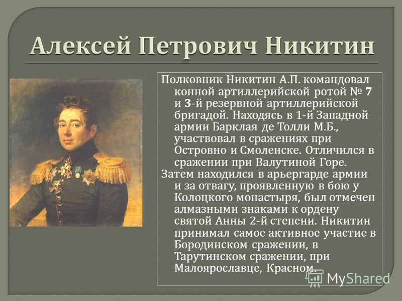 Полковник Никитин А. П. командовал конной артиллерийской ротой 7 и 3- й резервной артиллерийской бригадой. Находясь в 1- й Западной армии Барклая де Толли М. Б., участвовал в сражениях при Островно и Смоленске. Отличился в сражении при Валутиной Горе
