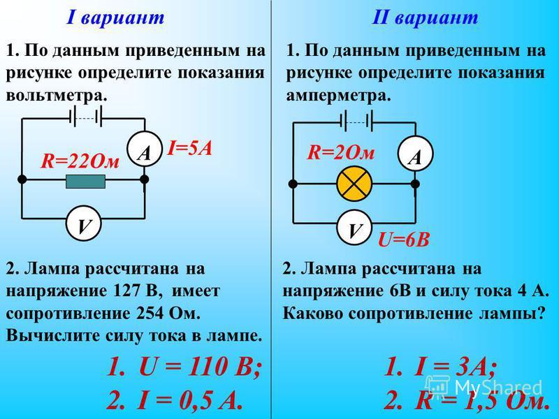 I вариантII вариант V А I=5A R=22Ом V А U=6B R=2Ом 1. По данным приведенным на рисунке определите показания вольтметра. 1. По данным приведенным на рисунке определите показания амперметра. 2. Лампа рассчитана на напряжение 6В и силу тока 4 А. Каково