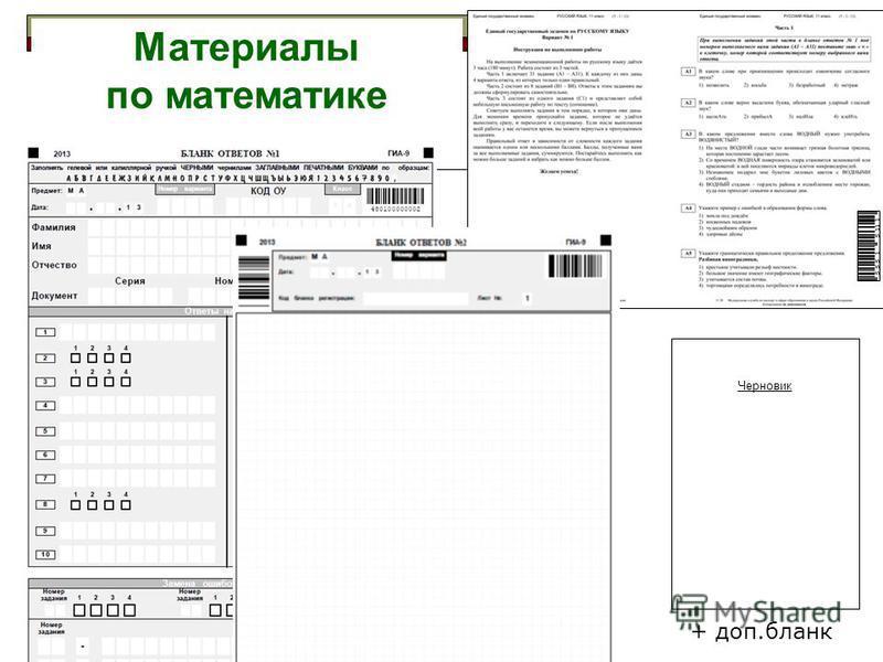 Материалы по математике + доп.бланк