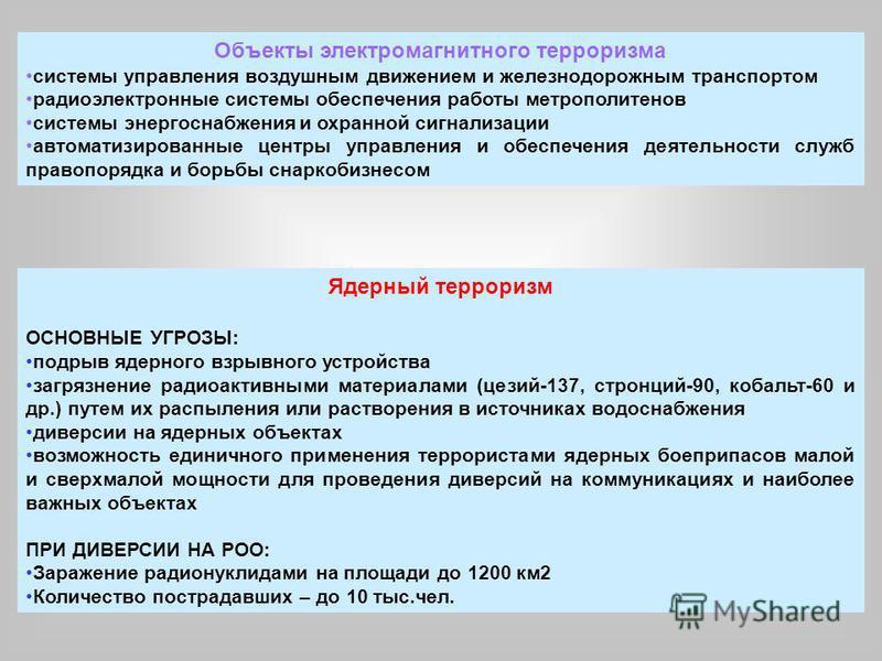 Ядерный терроризм ОСНОВНЫЕ УГРОЗЫ: подрыв ядерного взрывного устройства загрязнение радиоактивными материалами (цезий-137, стронций-90, кобальт-60 и др.) путем их распыления или растворения в источниках водоснабжения диверсии на ядерных объектах возм