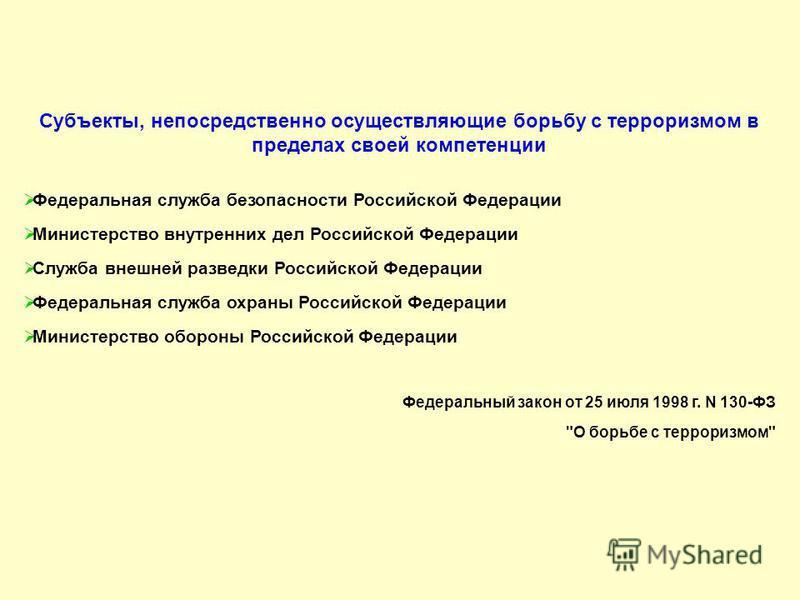 Субъекты, непосредственно осуществляющие борьбу с терроризмом в пределах своей компетенции Федеральная служба безопасности Российской Федерации Министерство внутренних дел Российской Федерации Служба внешней разведки Российской Федерации Федеральная