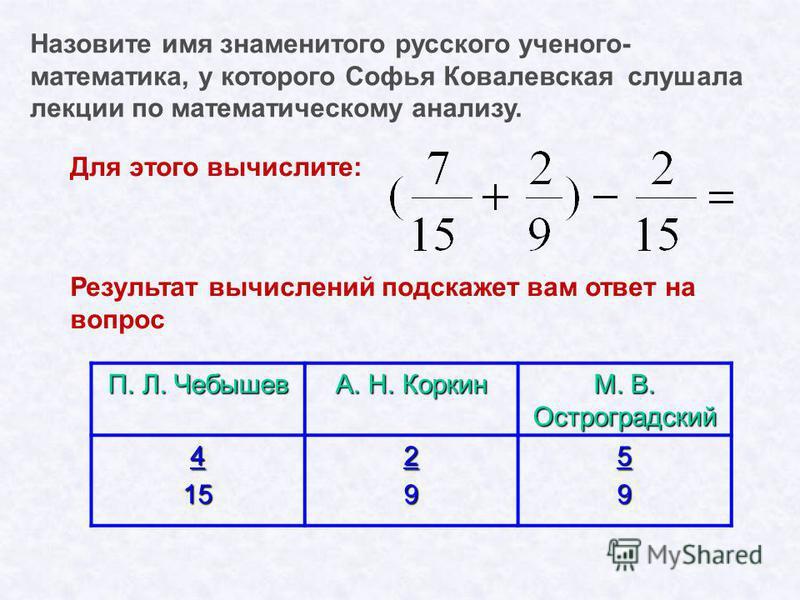 Назовите имя знаменитого русского ученого- математика, y которого Софья Ковалевская cлушaлa лекции по математическому анализу. Для этого вычислите: Результат вычислений подскажет вам ответ на вопрос П. Л. Чебышев А. Н. Коркин М. В. Остроградский 4152