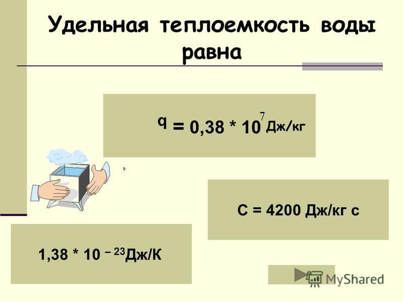 q = 0,38 * 10 1,38 * 10 – 23 Дж/К C = 4200 Дж/кг с Удельная теплоемкость воды равна Дж/кг