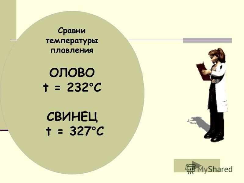 ОЛОВО t = 232°C СВИНЕЦ t = 327°C Сравни температуры плавления