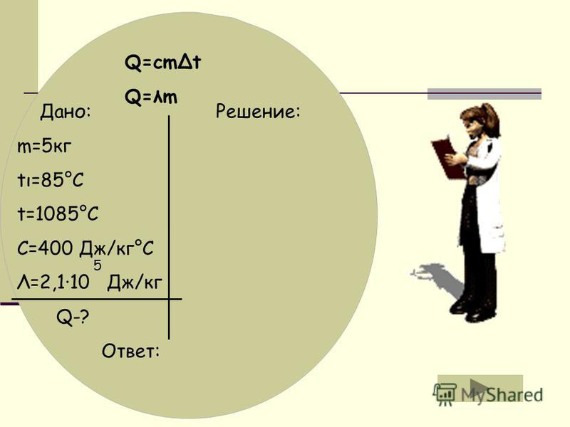 Q=cmet Q=λm Дано: Решение: m=5 кг tι=85°C t=1085°C C=400 Дж/кг°С Λ=2,1·10 Дж/кг Q-? Ответ: 5