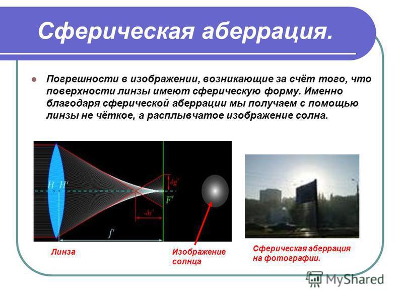 Сферическая аберрация. Погрешности в изображении, возникающие за счёт того, что поверхности линзы имеют сферическую форму. Именно благодаря сферической аберрации мы получаем с помощью линзы не чёткое, а расплывчатое изображение солнца. Сферическая аб