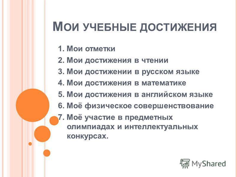 М ОИ УЧЕБНЫЕ ДОСТИЖЕНИЯ 1. Мои отметки 2. Мои достижения в чтении 3. Мои достижении в русском языке 4. Мои достижения в математике 5. Мои достижения в английском языке 6. Моё физическое совершенствование 7. Моё участие в предметных олимпиадах и интел
