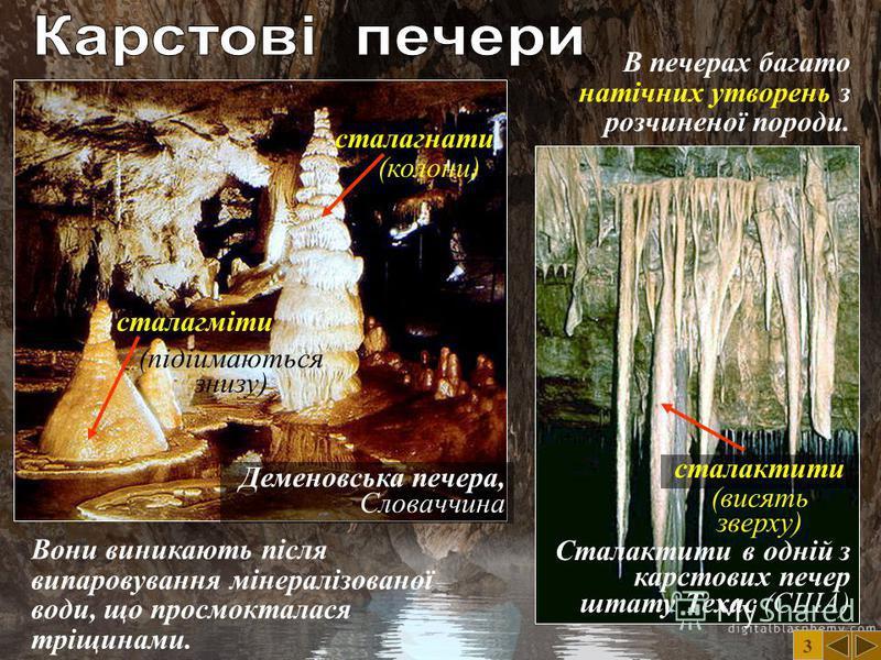 Добшинська печера, Словаччина 3 Карстові печери – дивні явища природи. Їх на Землі сотні тисяч. Вони є на всіх континентах. Печери складаються з заплутаних лабіринтів. В них є підземні річки та озера, водоспади, гроти. Найбільша в світі карстова пече