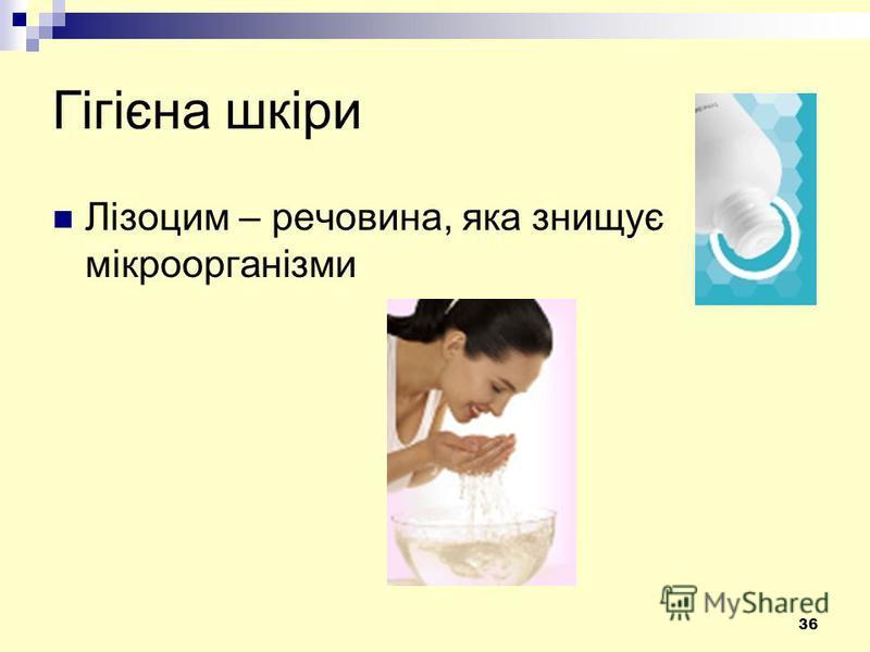 36 Гігієна шкіри Лізоцим – речовина, яка знищує мікроорганізми