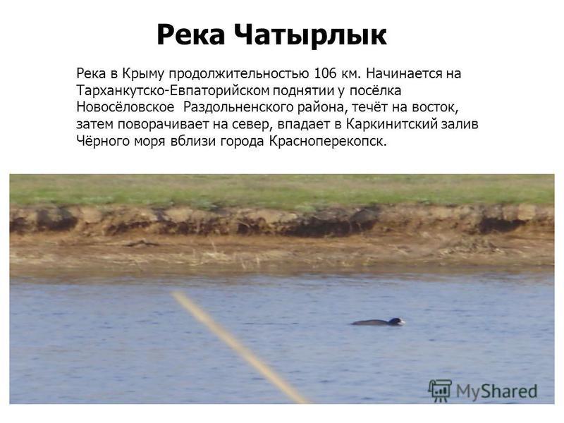 Река Чатырлык Река в Крыму продолжительностью 106 км. Начинается на Тарханкутско-Евпаторийском поднятии у посёлка Новосёловское Раздольненского района, течёт на восток, затем поворачивает на север, впадает в Каркинитский залив Чёрного моря вблизи гор