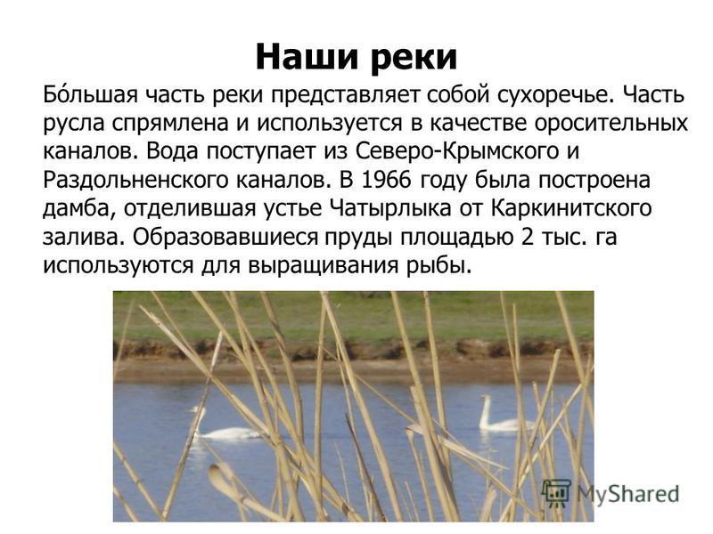 Бо́льшая часть реки представляет собой сухоречье. Часть русла спрямлена и используется в качестве оросительных каналов. Вода поступает из Северо-Крымского и Раздольненского каналов. В 1966 году была построена дамба, отделившая устье Чатырлыка от Карк