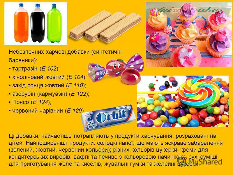 Небезпечних харчові добавки (синтетичні барвники): тартразін (Е 102); хіноліновий жовтий (Е 104); захід сонця жовтий (Е 110); азорубін (кармуазін) (Е 122); Понсо (Е 124); червоний чарівний (Е 129) Ці добавки, найчастіше потрапляють у продукти харчува