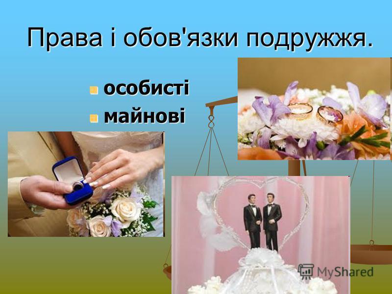 Права і обов'язки подружжя. особисті особисті майнові майнові