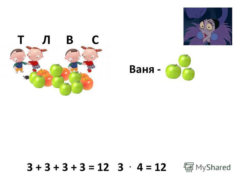 Т Л В С Ваня - 3 + 3 + 3 + 3 = 12 3. 4 = 12