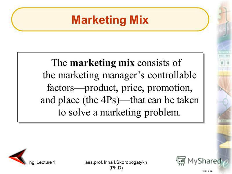 Marketing, Lecture 1ass.prof. Irina I.Skorobogatykh (Ph.D) 18 Slide 1-88 The marketing mix consists of the marketing managers controllable factorsproduct, price, promotion, and place (the 4Ps)that can be taken to solve a marketing problem. Marketing
