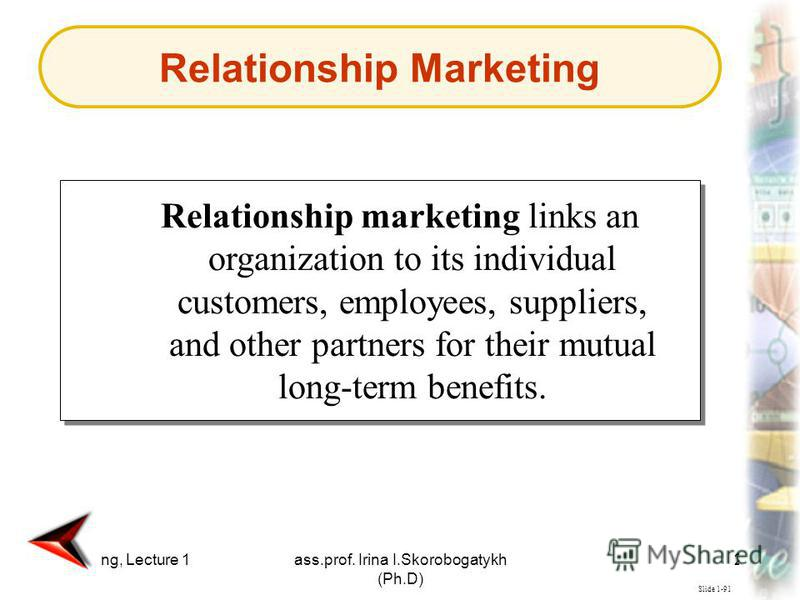 Marketing, Lecture 1ass.prof. Irina I.Skorobogatykh (Ph.D) 23 Slide 1-91 Relationship marketing links an organization to its individual customers, employees, suppliers, and other partners for their mutual long-term benefits. Relationship Marketing