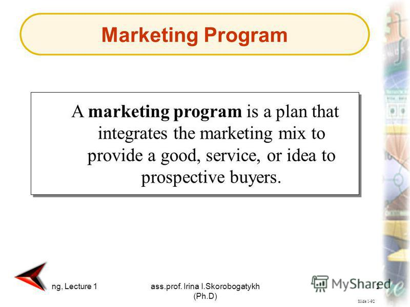 Marketing, Lecture 1ass.prof. Irina I.Skorobogatykh (Ph.D) 24 Slide 1-92 A marketing program is a plan that integrates the marketing mix to provide a good, service, or idea to prospective buyers. Marketing Program