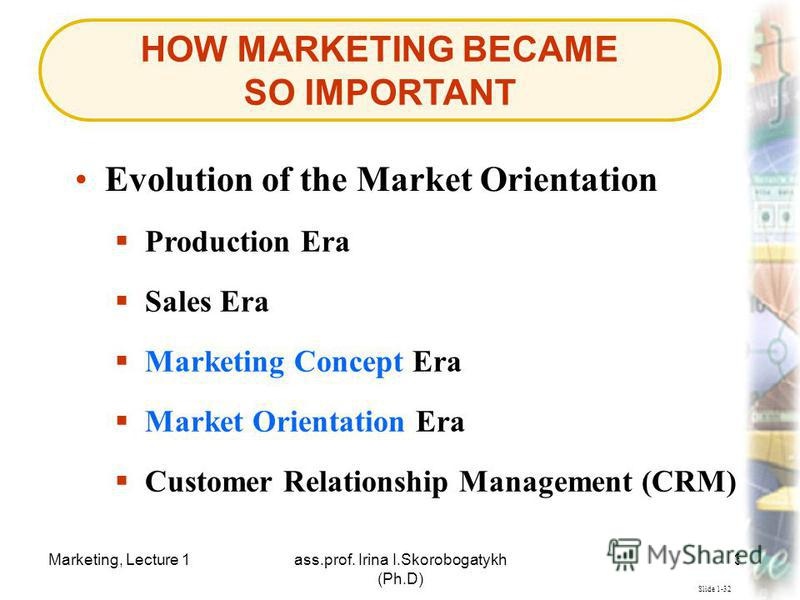 Marketing, Lecture 1ass.prof. Irina I.Skorobogatykh (Ph.D) 30 HOW MARKETING BECAME SO IMPORTANT Slide 1-32 Evolution of the Market Orientation Production Era Market Orientation Era Market Orientation Era Customer Relationship Management (CRM) Sales E