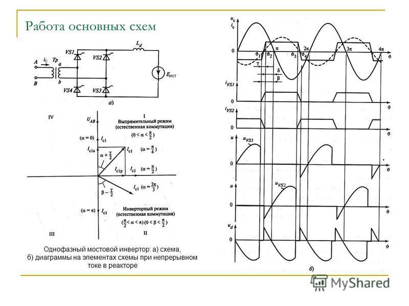 схем Однофазный мостовой