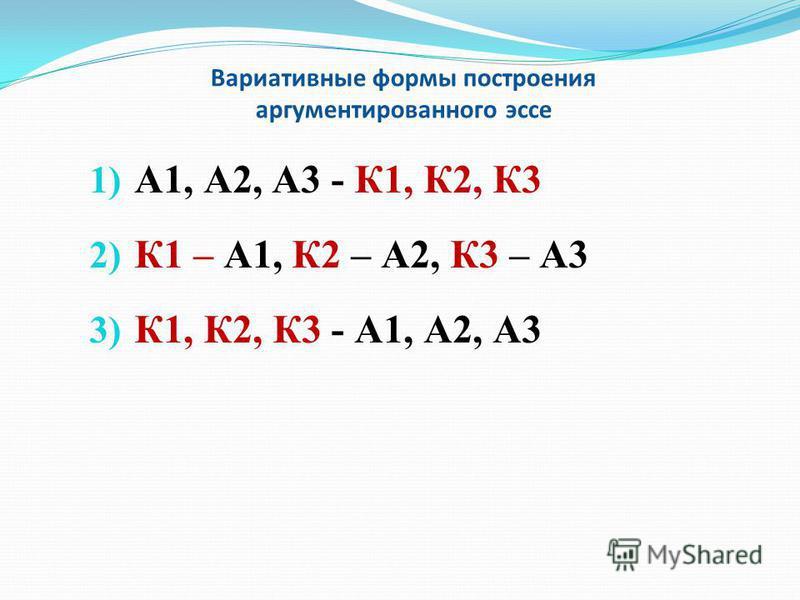 Вариативные формы построения аргументированного эссе 1) А1, А2, А3 - К1, К2, К3 2) К1 – А1, К2 – А2, К3 – А3 3) К1, К2, К3 - А1, А2, А3