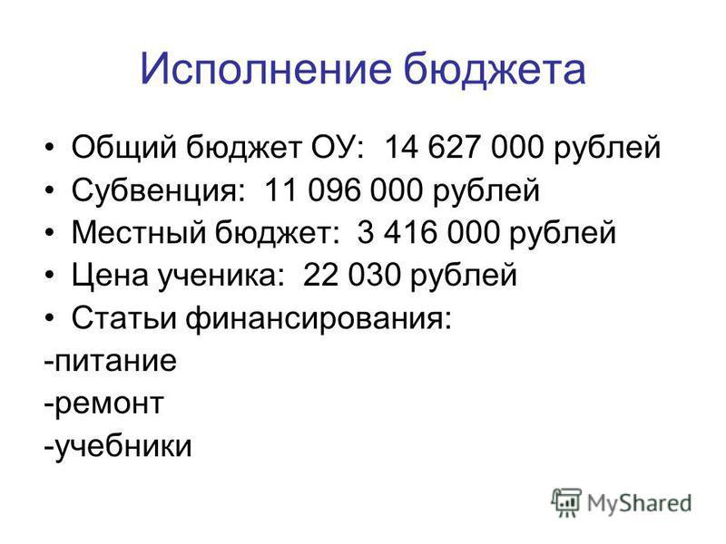 Исполнение бюджета Общий бюджет ОУ: 14 627 000 рублей Субвенция: 11 096 000 рублей Местный бюджет: 3 416 000 рублей Цена ученика: 22 030 рублей Статьи финансирования: -питание -ремонт -учебники