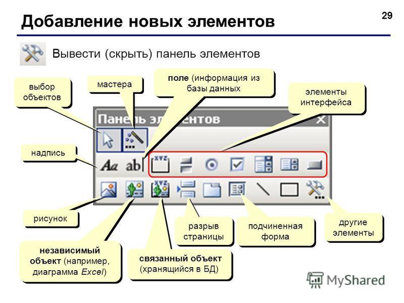 29 Добавление новых элементов Вывести (скрыть) панель элементов выбор объектов мастера надпись поле (информация из базы данных рисунок независимый объект (например, диаграмма Excel) элементы интерфейса связанный объект (хранящийся в БД) разрыв страни