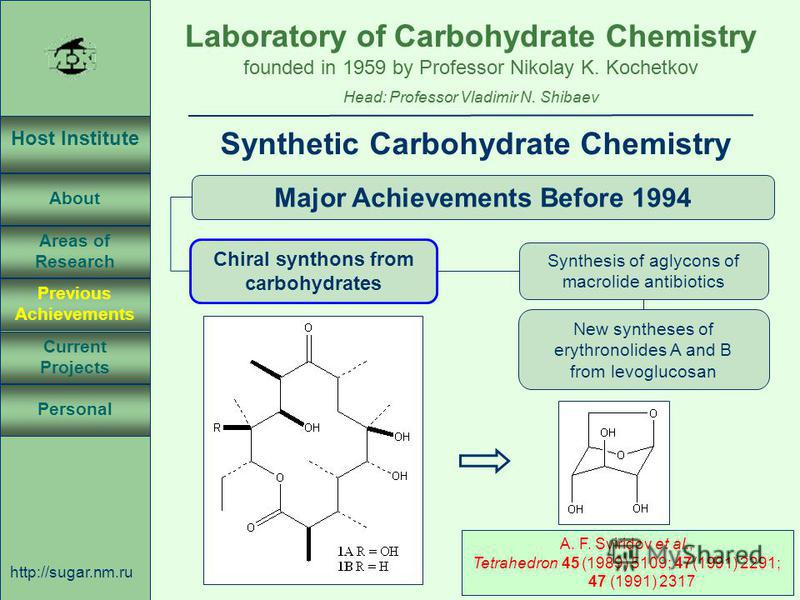Laboratory of Carbohydrate Chemistry Head: Professor Vladimir N. Shibaev founded in 1959 by Professor Nikolay K. Kochetkov Host Institute About Previous Achievements Current Projects Areas of Research Personal http://sugar.nm.ru 10 April 3, 2003, Ros