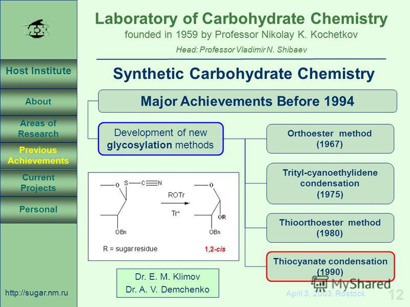 Laboratory of Carbohydrate Chemistry Head: Professor Vladimir N. Shibaev founded in 1959 by Professor Nikolay K. Kochetkov Host Institute About Previous Achievements Current Projects Areas of Research Personal http://sugar.nm.ru 12 April 3, 2003, Ros