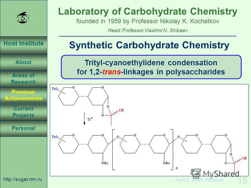 Laboratory of Carbohydrate Chemistry Head: Professor Vladimir N. Shibaev founded in 1959 by Professor Nikolay K. Kochetkov Host Institute About Previous Achievements Current Projects Areas of Research Personal http://sugar.nm.ru 15 April 3, 2003, Ros