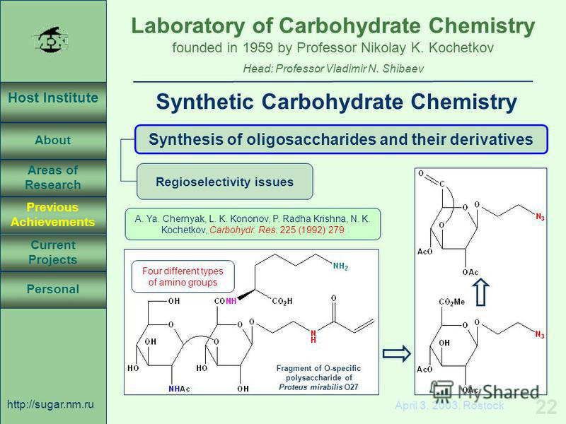 Laboratory of Carbohydrate Chemistry Head: Professor Vladimir N. Shibaev founded in 1959 by Professor Nikolay K. Kochetkov Host Institute About Previous Achievements Current Projects Areas of Research Personal http://sugar.nm.ru 22 April 3, 2003, Ros