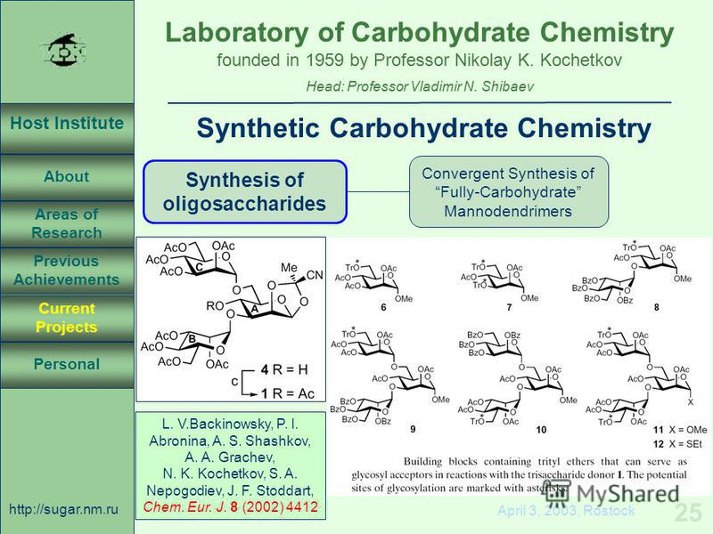 Laboratory of Carbohydrate Chemistry Head: Professor Vladimir N. Shibaev founded in 1959 by Professor Nikolay K. Kochetkov Host Institute About Previous Achievements Current Projects Areas of Research Personal http://sugar.nm.ru 25 April 3, 2003, Ros