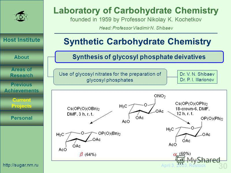 Laboratory of Carbohydrate Chemistry Head: Professor Vladimir N. Shibaev founded in 1959 by Professor Nikolay K. Kochetkov Host Institute About Previous Achievements Current Projects Areas of Research Personal http://sugar.nm.ru 30 April 3, 2003, Ros