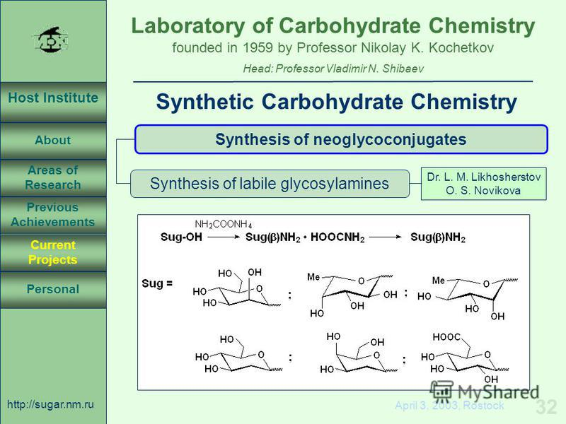 Laboratory of Carbohydrate Chemistry Head: Professor Vladimir N. Shibaev founded in 1959 by Professor Nikolay K. Kochetkov Host Institute About Previous Achievements Current Projects Areas of Research Personal http://sugar.nm.ru 32 April 3, 2003, Ros