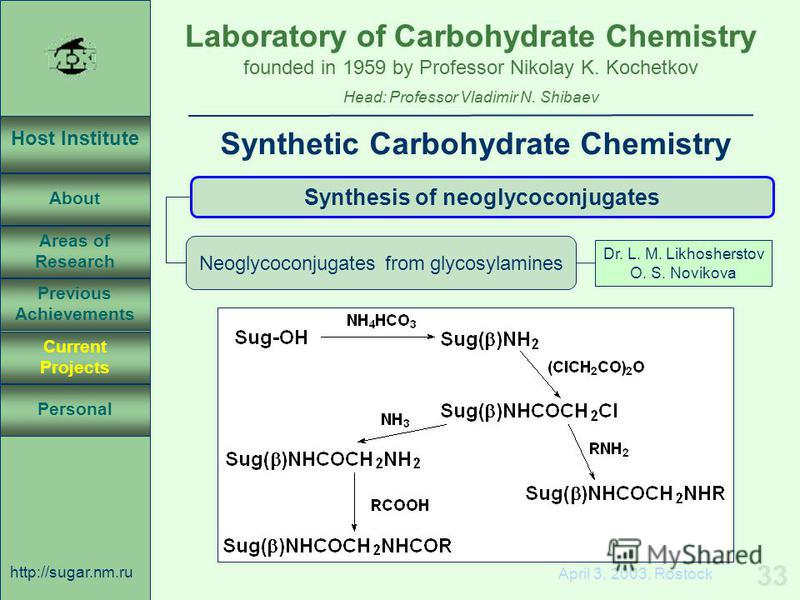 Laboratory of Carbohydrate Chemistry Head: Professor Vladimir N. Shibaev founded in 1959 by Professor Nikolay K. Kochetkov Host Institute About Previous Achievements Current Projects Areas of Research Personal http://sugar.nm.ru 33 April 3, 2003, Ros