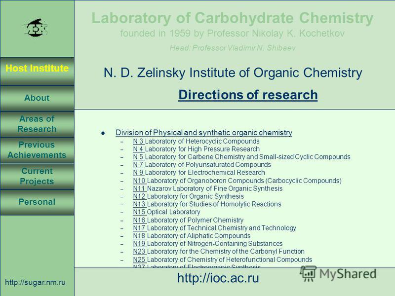 Laboratory of Carbohydrate Chemistry Head: Professor Vladimir N. Shibaev founded in 1959 by Professor Nikolay K. Kochetkov Host Institute About Previous Achievements Current Projects Areas of Research Personal http://sugar.nm.ru 4 April 3, 2003, Rost