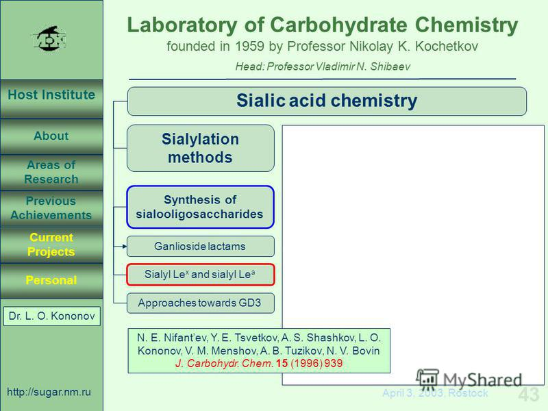 Laboratory of Carbohydrate Chemistry Head: Professor Vladimir N. Shibaev founded in 1959 by Professor Nikolay K. Kochetkov Host Institute About Previous Achievements Current Projects Areas of Research Personal http://sugar.nm.ru 43 April 3, 2003, Ros