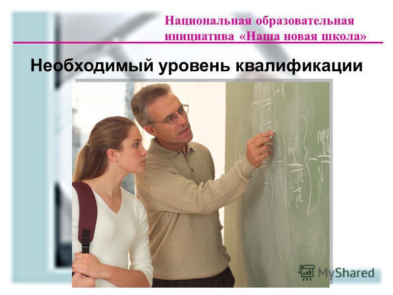 Национальная образовательная инициатива «Наша новая школа» Необходимый уровень квалификации