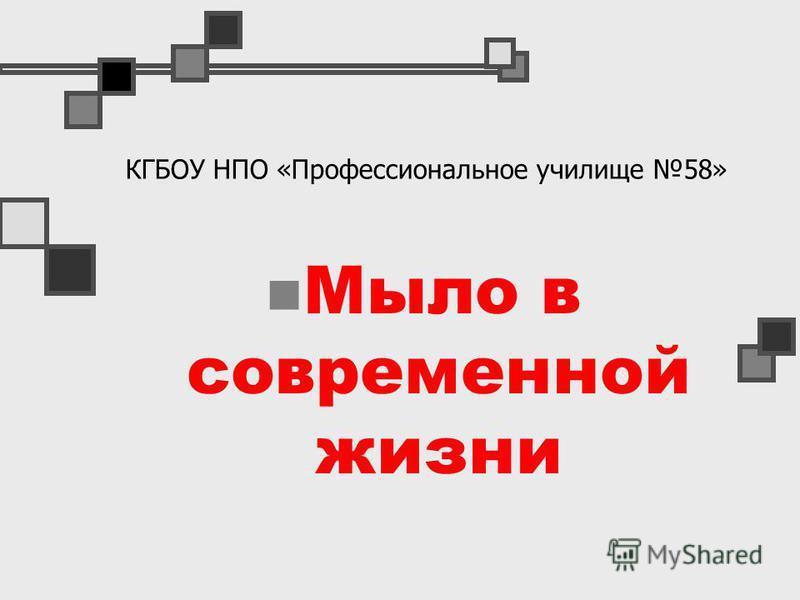 КГБОУ НПО «Профессиональное училище 58» Мыло в современной жизни