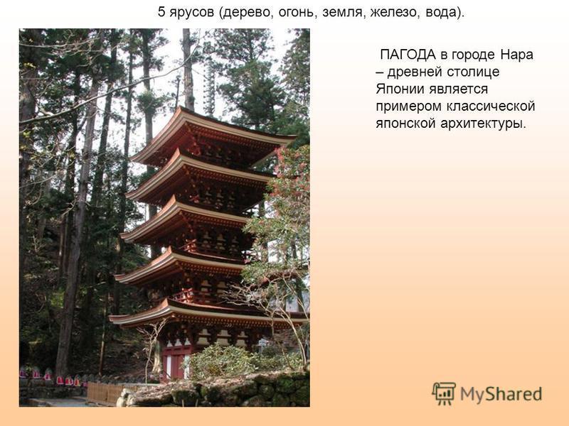 ПАГОДА в городе Нара – древней столице Японии является примером классической японской архитектуры. 5 ярусов (дерево, огонь, земля, железо, вода).