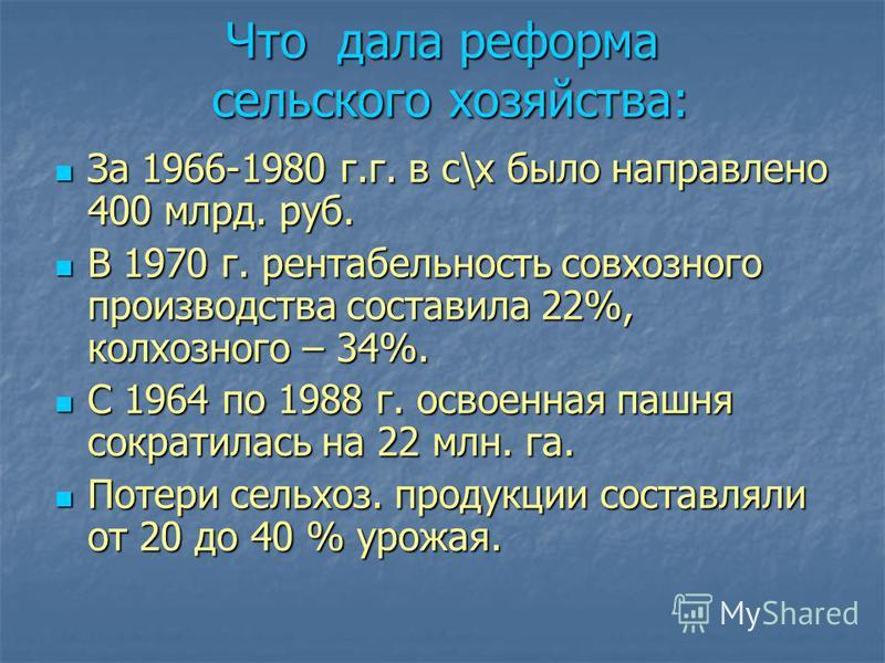 Что дала реформа сельского хозяйства: За 1966-1980 г.г. в с\х было направлено 400 млрд. руб. За 1966-1980 г.г. в с\х было направлено 400 млрд. руб. В 1970 г. рентабельность совхозного производства составила 22%, колхозного – 34%. В 1970 г. рентабельн