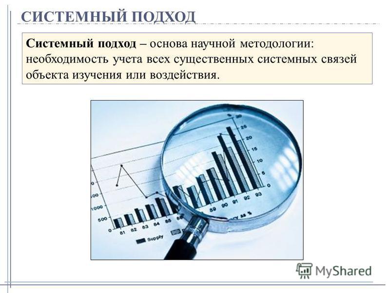 СИСТЕМНЫЙ ПОДХОД Системный подход – основа научной методологии: необходимость учета всех существенных системных связей объекта изучения или воздействия.