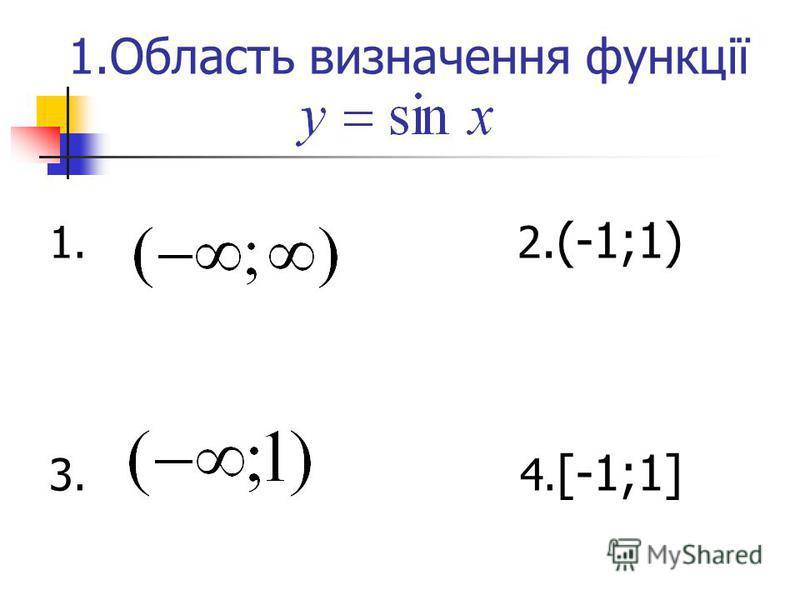 1.Область визначення функції 1. 2.(-1;1) 3. 4. [-1;1]